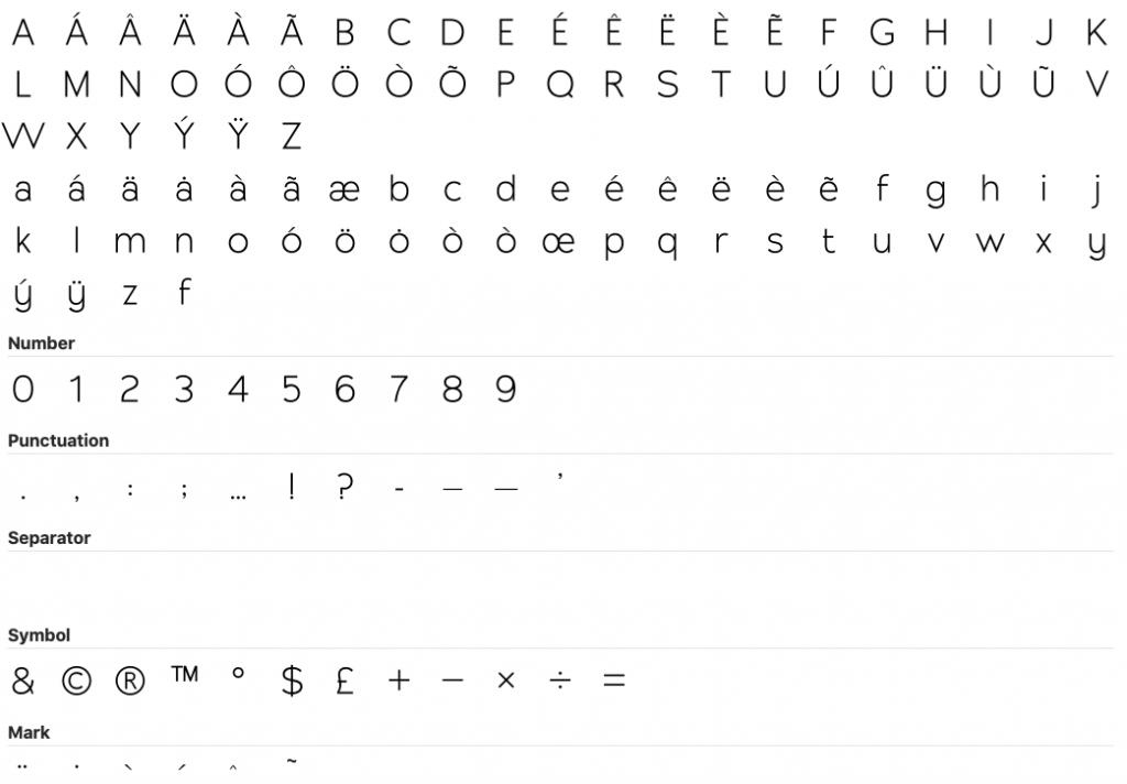 Full glyph set
